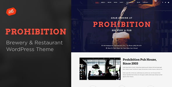 Prohibition-1 - 34+ AWESOME WordPress Brewery Themes [year]