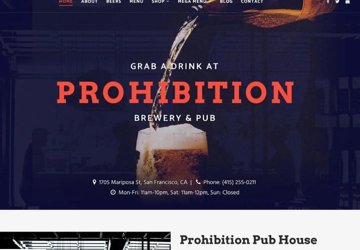Prohibition-2 - 35+ AMAZING WordPress Bar & Pub Themes [year]