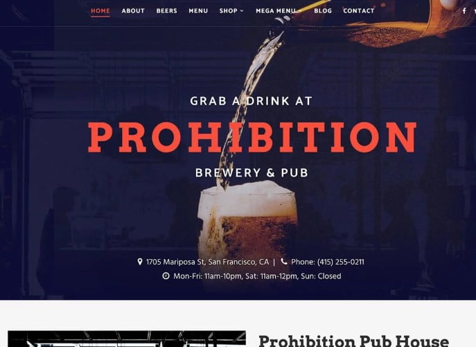Prohibition - 34+ AWESOME WordPress Brewery Themes [year]