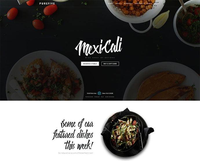 Purefive - 34+ GREAT WordPress Restaurant Landing Page Themes [year]