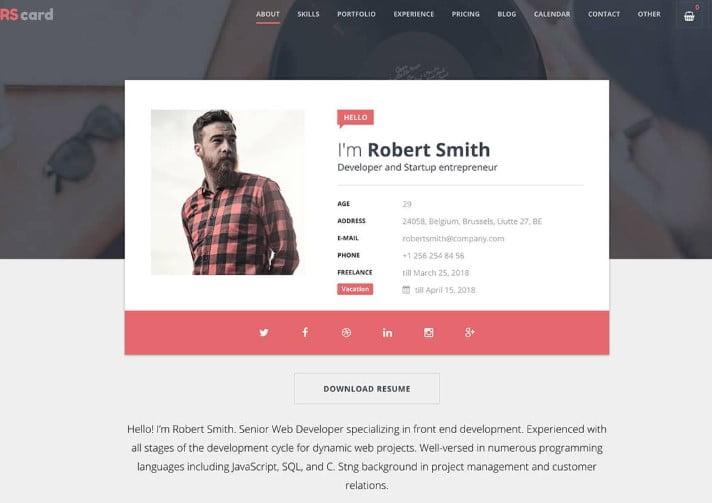 RSCard - 35+ GREAT WordPress Resume Themes [year]