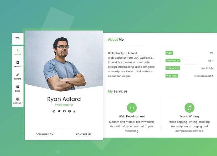 RyanCV - 35+ GREAT WordPress Resume Themes [year]
