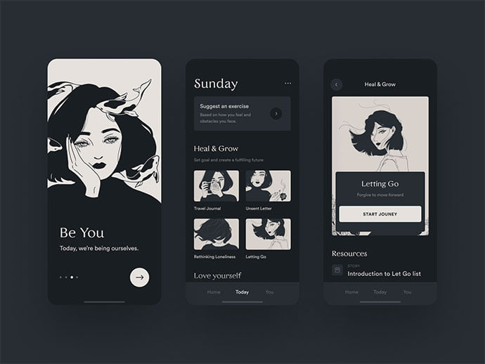 Self-Motivation - 46+ BEST Free Dark App UI Designs IDEA [year]