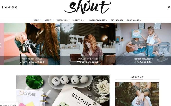 Shout - 35+ TOP WordPress Lifestyle Themes [year]
