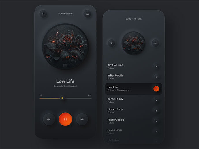 Simple-Music-Player - 46+ BEST Free Dark App UI Designs IDEA [year]