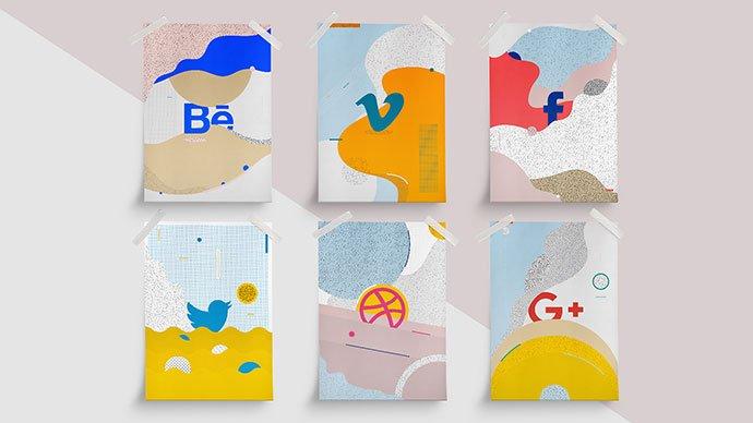 Social-Icons-Illustration - 36+ AMAZING Free Minimal Illustrations IDEA [year]