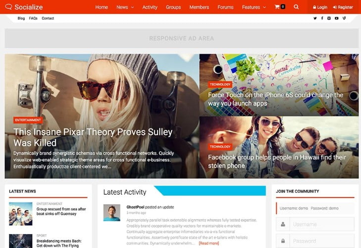 Socialize - 35+ Responsive WordPress Community Themes [year]