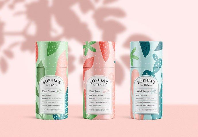 Sophia's-Tea-Branding - 38+ Nice Free Pattern Shapes Packaging Designs [year]