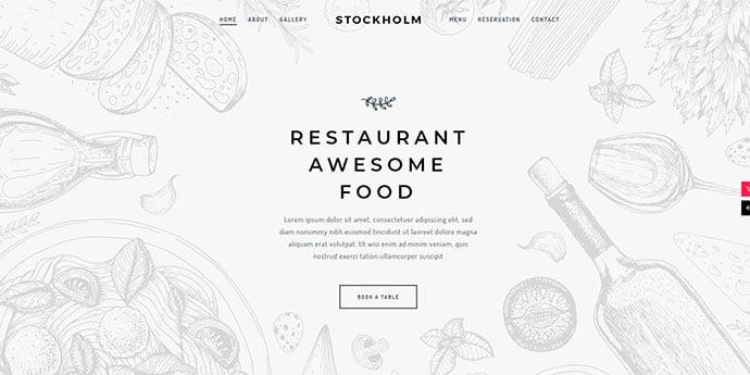 Stockholm - 34+ GREAT WordPress Restaurant Landing Page Themes [year]