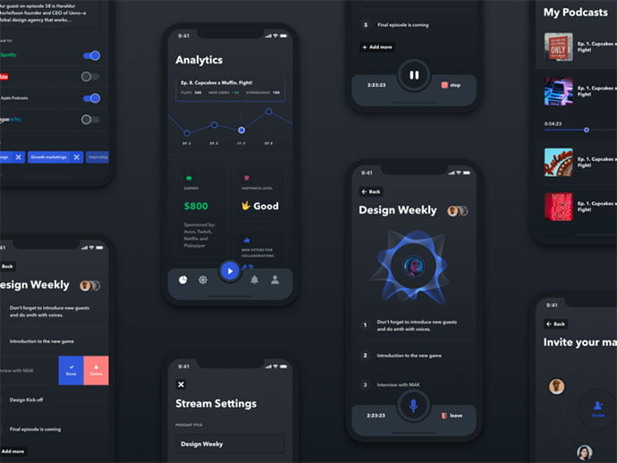 Streaming - 46+ BEST Free Dark App UI Designs IDEA [year]