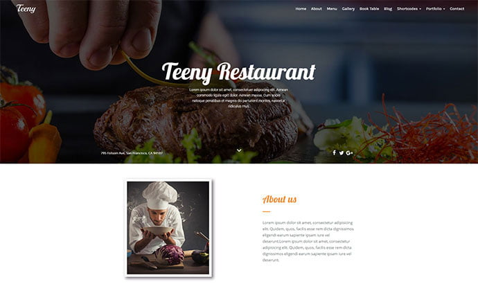 Teeny - 34+ GREAT WordPress Restaurant Landing Page Themes [year]
