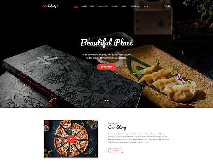 Unfinity-Plus - 34+ GREAT WordPress Restaurant Landing Page Themes [year]
