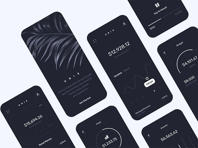Unix-Dark-Mode - 46+ BEST Free Dark App UI Designs IDEA [year]