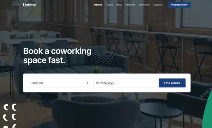 Uptime - 35+ TOP WordPress Coworking Space Themes [year]