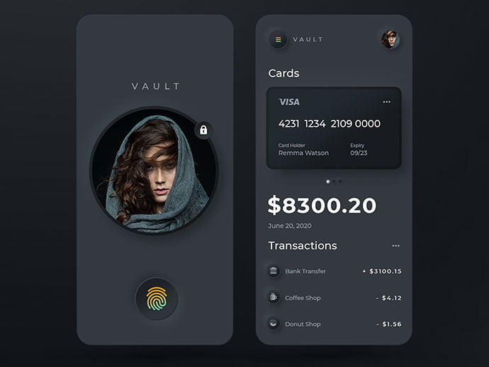 Vault-Mobile-Banking. - 46+ BEST Free Dark App UI Designs IDEA [year]