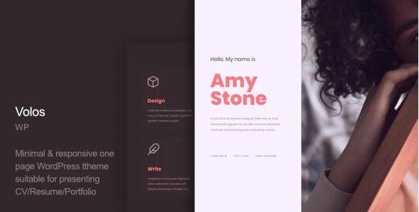 Volos - 35+ GREAT WordPress Resume Themes [year]