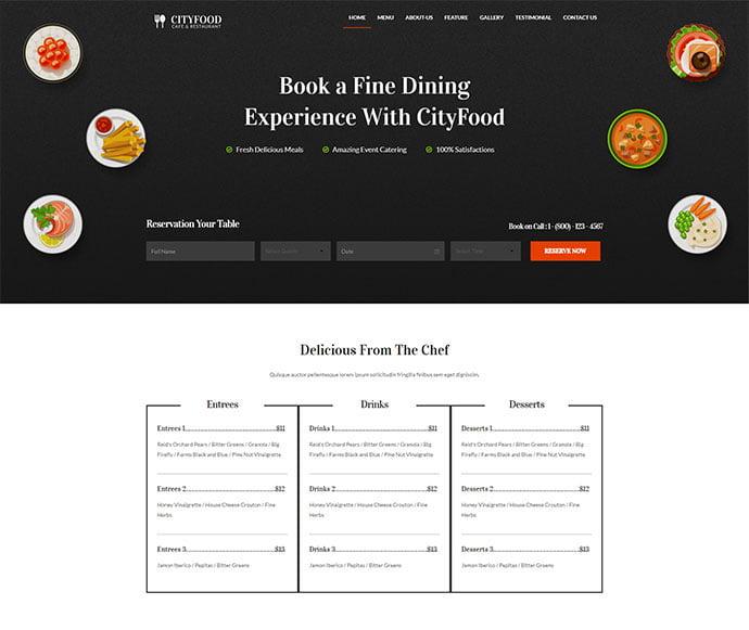 Wealth - 34+ GREAT WordPress Restaurant Landing Page Themes [year]