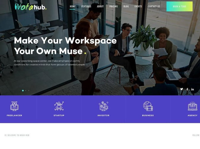 WotaHub - 35+ TOP WordPress Coworking Space Themes [year]