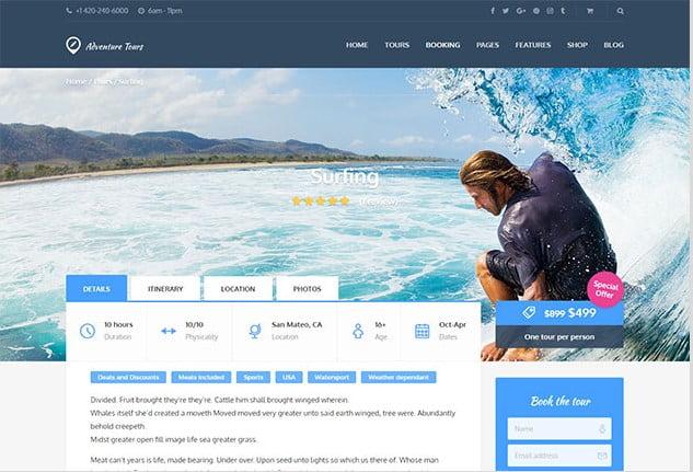 Adventure-Tours - 35+ TOP Surfing Website WordPress Themes [year]