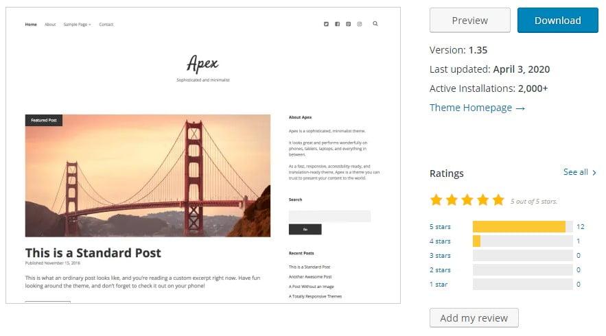 Apex - 35+ BEST Free WordPress Minimalist Themes [year]