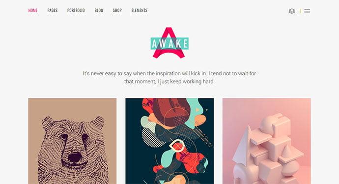 Awake - 43+ BEST WordPress Minimalist Portfolio Themes [year]