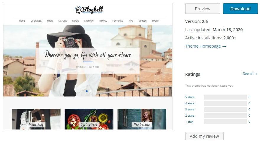 BlogBell - 35+ BEST Free WordPress Minimalist Themes [year]