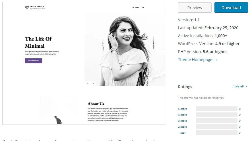 Catch-Sketch - 35+ BEST Free WordPress Minimalist Themes [year]