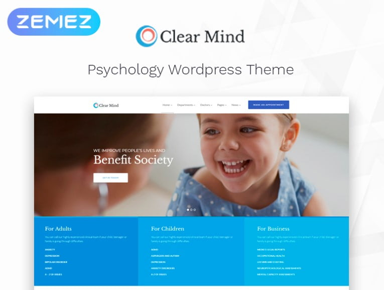 Clear-Mind - 34+ BEST Psychologists, Therapists WordPress Themes [year]