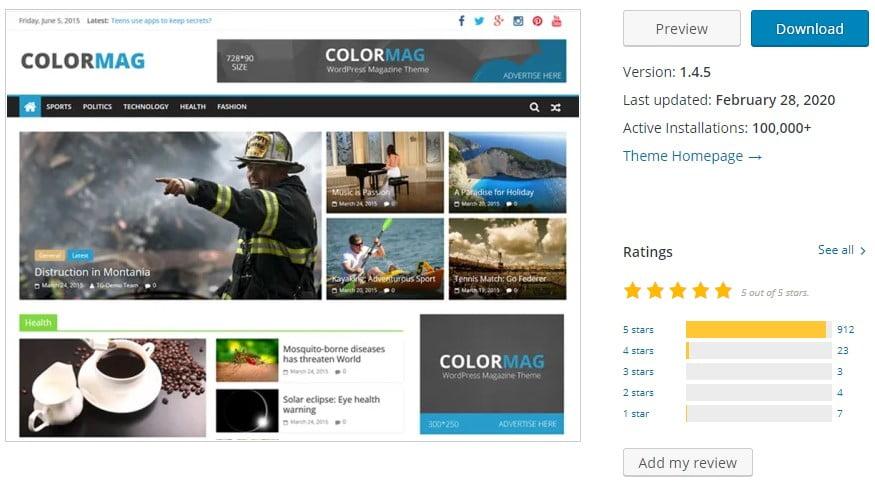 ColorMag - 35+ BEST Free WordPress Minimalist Themes [year]