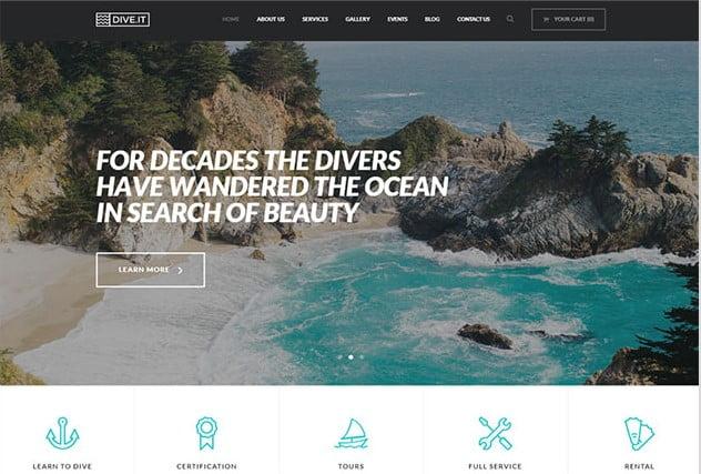 DiveIt - 35+ TOP Surfing Website WordPress Themes [year]