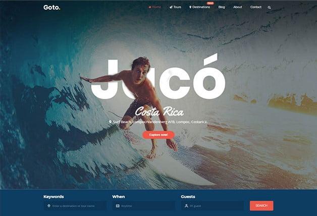 Goto - 35+ TOP Surfing Website WordPress Themes [year]