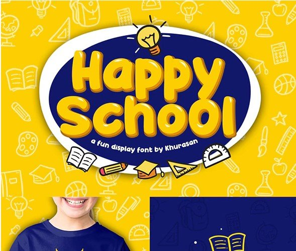 Happy-School - 38+ TOP BEST Bold Display Fonts [year]