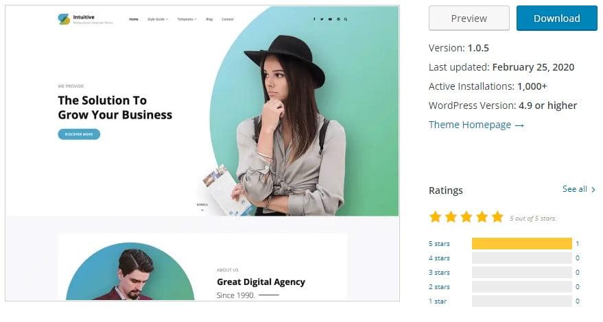 Intuitive - 35+ BEST Free WordPress Minimalist Themes [year]