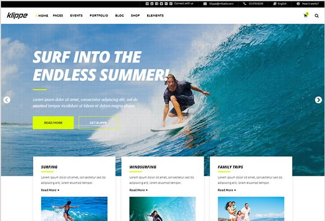 Klippe - 35+ TOP Surfing Website WordPress Themes [year]