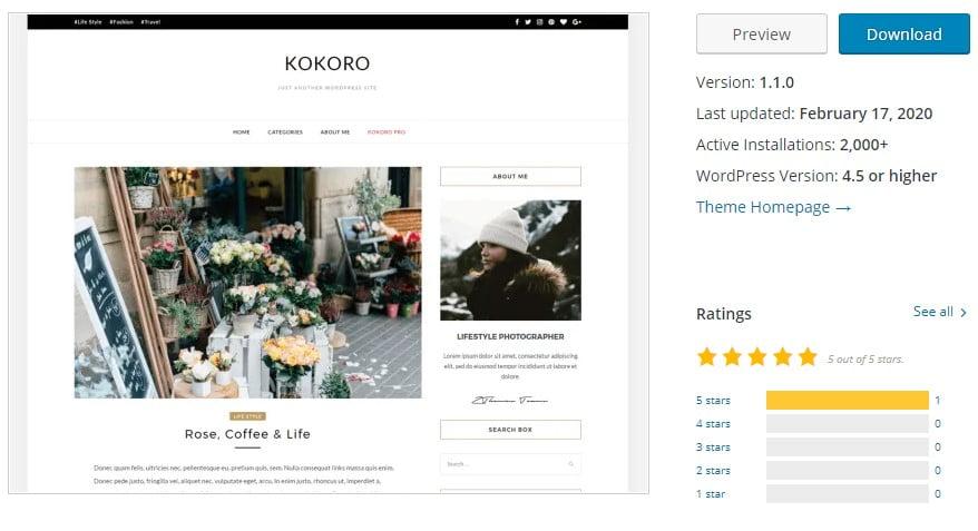 Kokoro - 35+ BEST Free WordPress Minimalist Themes [year]