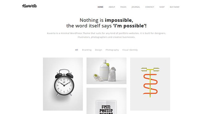 Kuverta - 43+ BEST WordPress Minimalist Portfolio Themes [year]
