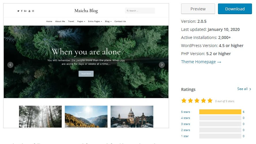 Maicha-Blog - 35+ BEST Free WordPress Minimalist Themes [year]