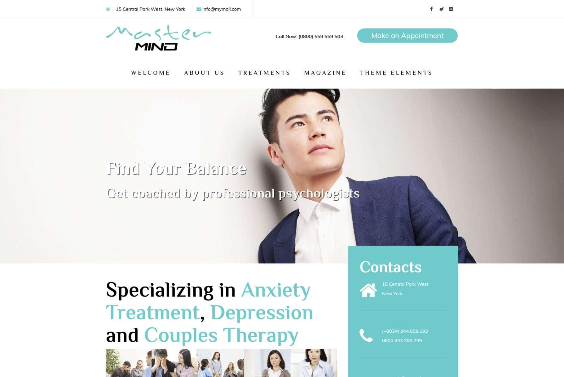 Mindmaster - 34+ BEST Psychologists, Therapists WordPress Themes [year]
