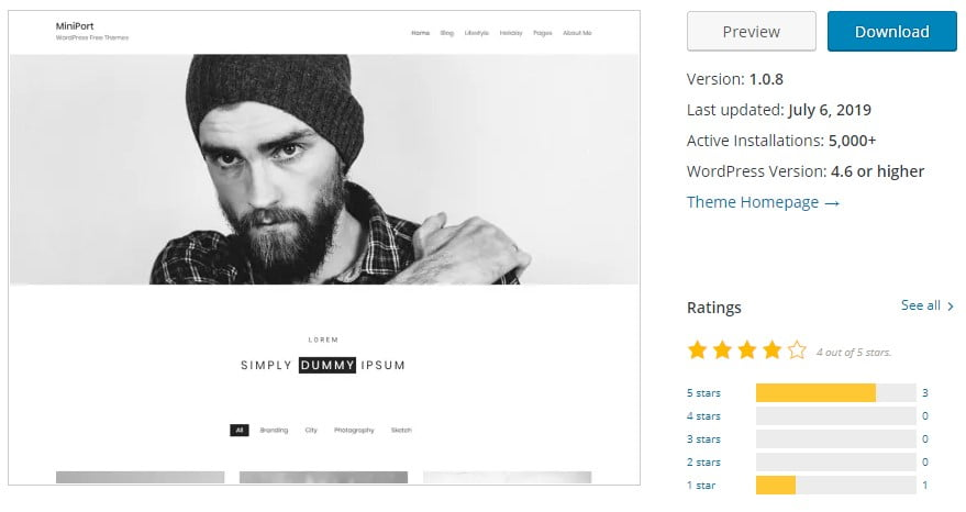 Minimal-Portfolio - 35+ BEST Free WordPress Minimalist Themes [year]