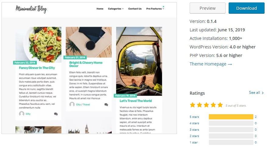 Minimalist-Blog - 35+ BEST Free WordPress Minimalist Themes [year]
