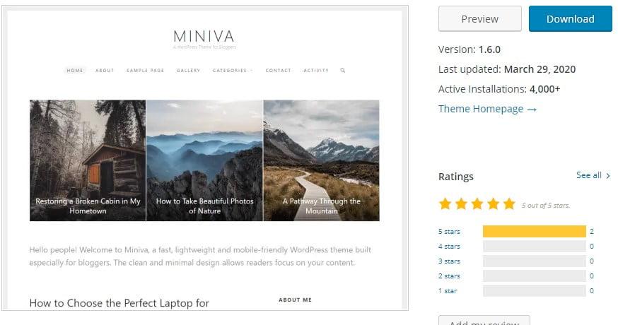 Miniva - 35+ BEST Free WordPress Minimalist Themes [year]