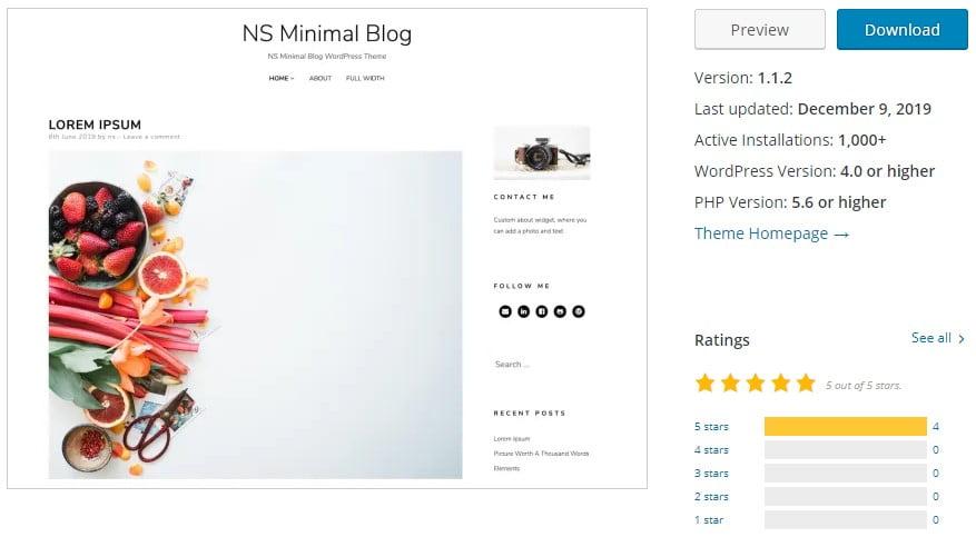 NS-Minimal - 35+ BEST Free WordPress Minimalist Themes [year]