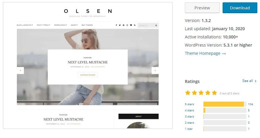 Olsen-Light - 35+ BEST Free WordPress Minimalist Themes [year]