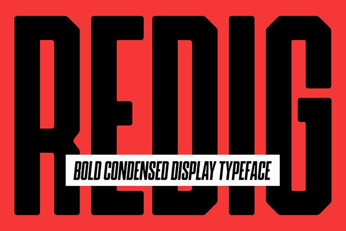 Redig - 38+ TOP BEST Bold Display Fonts [year]
