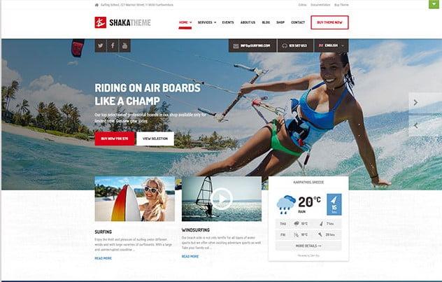 Shaka - 35+ TOP Surfing Website WordPress Themes [year]