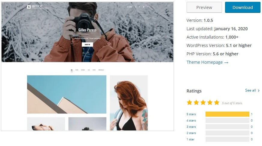 Shutter-Up - 35+ BEST Free WordPress Minimalist Themes [year]