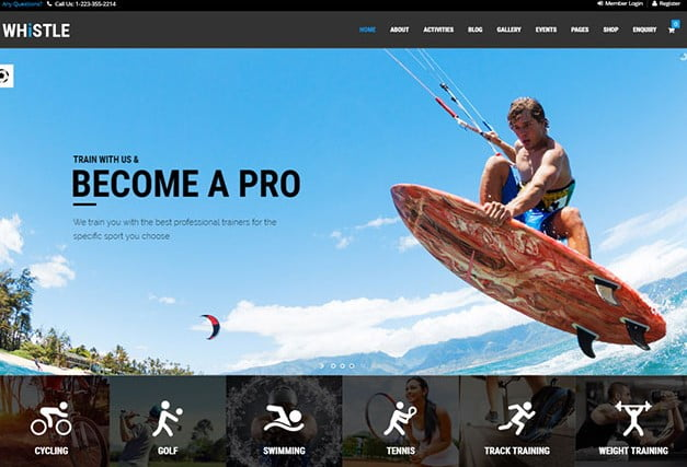 Whistle-Sport - 35+ TOP Surfing Website WordPress Themes [year]