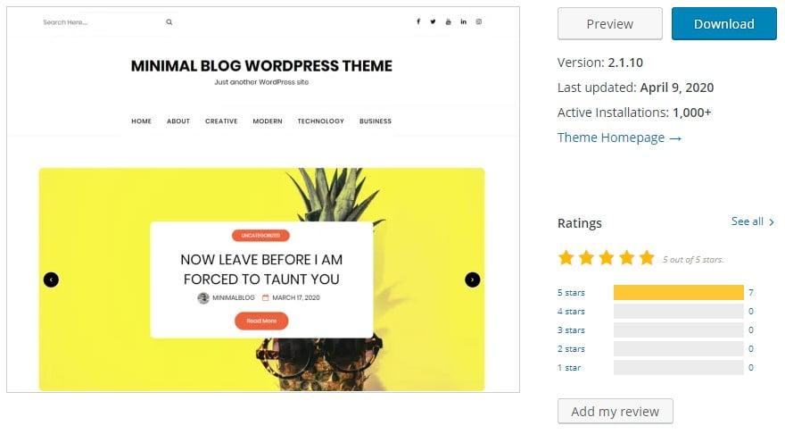 minimalblog - 35+ BEST Free WordPress Minimalist Themes [year]