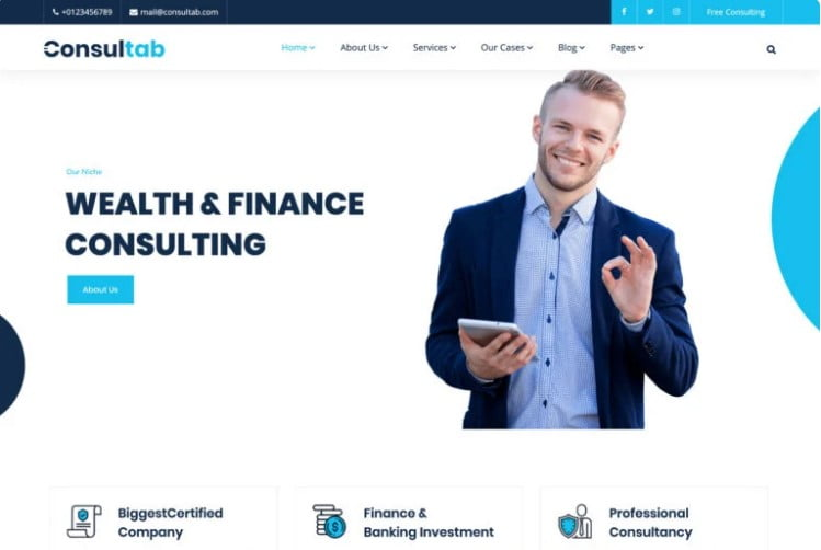 Consultab - 33+ BEST WordPress Financial Themes [year]