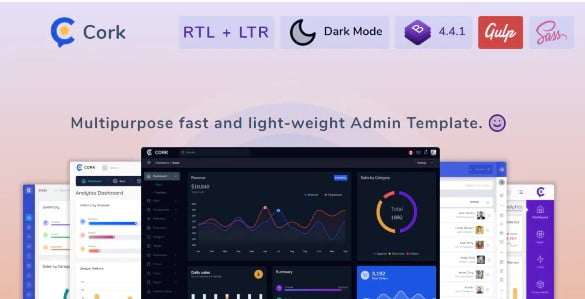 Cork - 36+ BEST Free React Admin Dashboard Templates [year]